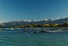 Śnieg nakrywać góry w Kaikoura, Nowa Zelandia zdjęcie stock