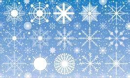 Śnieg, płatek śniegu na błękitnym tle Śnieg w zimie Obraz Stock