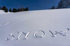 Śnieg pisze na śniegu obrazy stock
