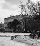 Śnieg przy St. Isaac kwadratem Fotografia Stock