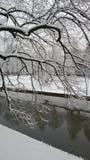 Śnieg - rzeka przy zimą Obrazy Royalty Free
