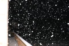 Śnieg Spada nad pokładem fotografia stock