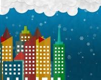 Śnieg w mieście na Bożenarodzeniowej nocy, tapetuje cięcie i pastę Obrazy Stock