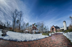 Śnieg wokoło billy grahamowej biblioteki zdjęcia stock