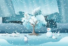 Śnieg z zwierzętami i snowing tłem royalty ilustracja