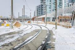 Śnieg Zakrywać Lekkie linie kolejowe Zdjęcie Royalty Free