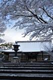 Śnieg zakrywał świątynię, zima w Kyoto Japonia zdjęcie royalty free