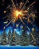 Śnieg zakrywał świerkowych drzewa i sparkler - boże narodzenia Zdjęcia Royalty Free
