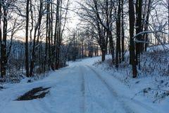 Śnieg zakrywał drogę gruntową na pięknym zima dniu Fotografia Royalty Free
