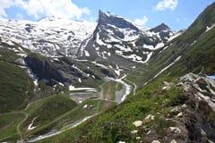 Śnieg zakrywał Lärmstange w Zillertal Alps, Austri fotografia royalty free