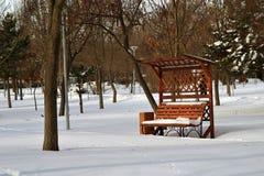 Śnieg Zakrywająca ławka Obrazy Royalty Free