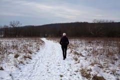Śnieg zakrywająca ścieżka z kobiety odprowadzeniem Fotografia Stock