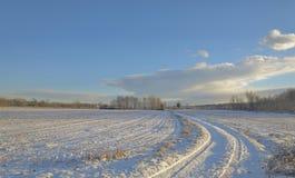 Śnieg zakrywająca wieś pod światłem słonecznym Obrazy Stock