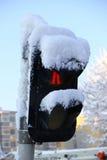 Śnieg Zakrywający światła ruchu Fotografia Royalty Free