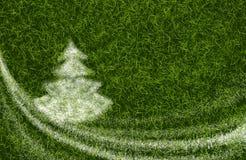 Śnieg zakrywający jedlinowy drzewo w trawie ilustracja wektor