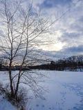 Śnieg zakrywający jezioro krajobraz Fotografia Stock