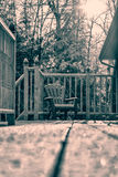 Śnieg Zakrywający Muskoka krzesło - Retro Obraz Stock