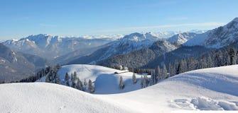 Śnieg zakrywający wysokogórski zima krajobrazu bavaria Fotografia Stock