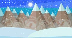 Śniegi zakrywający halni szczyty w śnieżycy ilustracja wektor