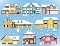 Śniegi zakrywający miasto domy royalty ilustracja