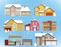 Śniegi zakrywający miasto domy (boże narodzenia) ilustracja wektor