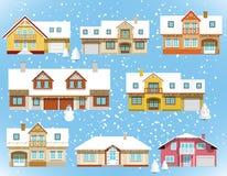 Śniegi zakrywający miasto domy (boże narodzenia) ilustracji