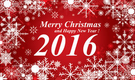 Śniegu, Wesoło bożych narodzeń i Szczęśliwy 2016 nowego roku czerwony tło, Śnieg w zimie Zdjęcie Royalty Free