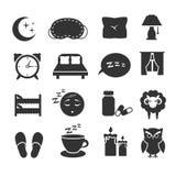 Śpi, noc relaksuje, poduszka, łóżko, księżyc, sowa, zzz wektorowe ikony śpi symbole ustawiających Zdjęcie Stock