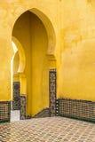 Śpiczaści łuki, mauzoleum Moulay Ismail, Meknes, Maroko zdjęcie stock
