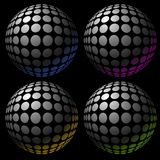 Śpiczasta sfera skutka kolekcja cieniąca cztery koloru Fotografia Stock