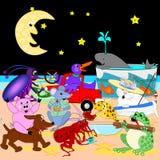 Śpiewać pod księżyc ilustracja wektor