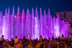 Śpiewackie fontanny na majdanu Nezalezhnosti niezależności S dalej Fotografia Stock
