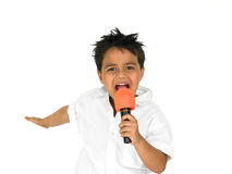 śpiewające młody chłopcze Zdjęcie Royalty Free
