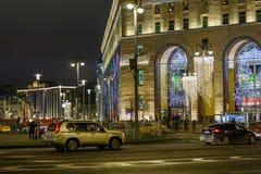 Śródmieście dekorujący i iluminujący dla wakacji Zdjęcie Stock