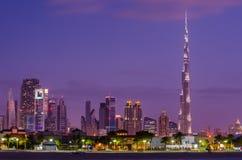 Śródmieście Dubaj w zmierzchu zdjęcia royalty free