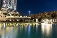 Śródmieście, Dubaj, Zjednoczone Emiraty Arabskie Dubaj fontanny przejażdżki Jeziorna atrakcja turystyczna, miejsce odwiedzać w ua obrazy stock