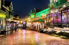 Śródmieście Volendam w Bożenarodzeniowej nocy zdjęcia stock