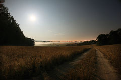 Śródpolny mgły nocy krajobraz Obrazy Royalty Free