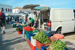 Śródziemnomorscy owoc i warzywo brać na Greece rynku Zdjęcie Stock