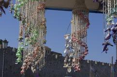 Śródziemnomorscy wiatrowi kuranty robić seashells zdjęcia stock