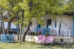 Śródziemnomorska średniogórza wina restauracja w lecie pod drzewami zdjęcie royalty free