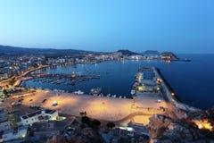 Śródziemnomorski grodzki Aguilas przy nocą Hiszpania Obrazy Stock