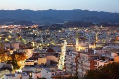 Śródziemnomorski grodzki Aguilas przy nocą Hiszpania Zdjęcie Royalty Free