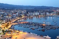 Śródziemnomorski grodzki Aguilas przy nocą Hiszpania Zdjęcia Royalty Free