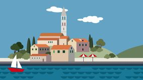 Śródziemnomorski krajobraz, mały miasteczko, kurort z plażą, morze macha, biegający chmury i żeglowanie łódź Płaska kreskówka zap ilustracji