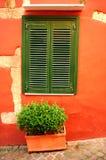 śródziemnomorski stary okno Obrazy Royalty Free