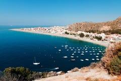 Śródziemnomorski wybrzeże, miasto Calahonda, prowincja Almeria, zdrój Zdjęcie Royalty Free