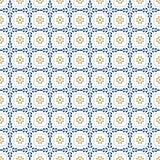 Śródziemnomorski wystroju wzór Lisbon płytki ornament, dekoracyjna podłogowych płytek mozaika Błękitny i złocisty bezszwowy desen ilustracji