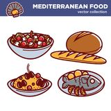 Śródziemnomorskich kuchni karmowych tradycyjnych naczyń wektorowe ikony ustawiać dla restauracyjnego menu Obrazy Royalty Free