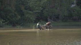 Średniorolny ciągnik kultywuje ryżowego pole zdjęcie wideo